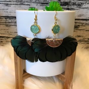 Druzy and Feather Earrings